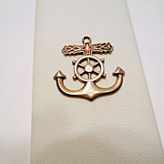 Vintage Nautical pendant, Sterling Silver signed Ster PPC with Anchor and Ship's Wheel Vintage