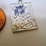 Vintage Mother pendant, Sterling Silver with blue Enamel flower Vintage jewellery