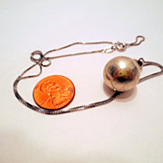 "Vintage harmony Ball necklace, 18"" 925 Italy Chain, Mexico Sterling Silver Harmony Ball P"