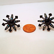 Vintage Givenchy Earrings, Blue Rhinestone Black Industrial Wheel Gear Pierced Earrings Signed
