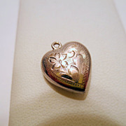 Vintage Heart pendant, Sterling Silver signed with Etched flower design Vintage jewellery 925