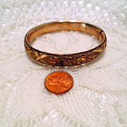 Vintage Flower Bracelet, Gold Shell and Signed vintage Hinged Bangle Bracelet vintage jeweller
