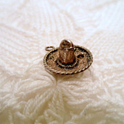 Sterling Silver Sombrero Hat Charm or Pendant, Signed Mexico 925 jewellery vintage 3D