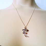 Vintage Shooting Star necklace, Silver Shooting Star pendant and Sterling Silver 925 Italy cha