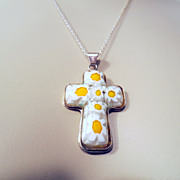 Vintage Cross Necklace, Sterling Silver 925 & Millefiori Glass Cross Crucifix Pendant Chain Re