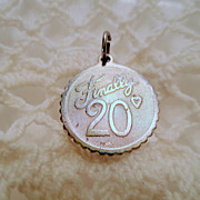 Vintage Silver Charm, Finally 20 with Heart Sterling silver 925 Vintage Pendant Jewellery