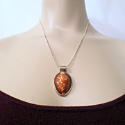Vintage Molded Art Glass Necklace, Shell Like Pendant and Chain marked 925 Sterling Silver jew