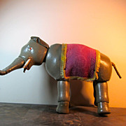 Painted Eye Schoenhut Elephant With Blanket - Near Mint