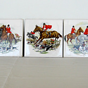 SOLD Vintage Tiles Set of 3 � Hunting party