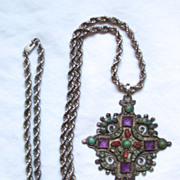 SALE Beautiful Signed Matilde Poulat (Mexico)  Cross with Chain