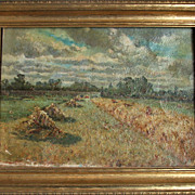 SOLD Vintage Oil On Canvas of Haystacks Unsigned.