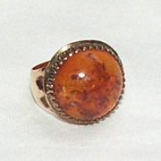 SALE Lovely Victorian 10Karat Gold Ring with Amber Stone