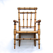 Fine Original 19th C Regency Doll-House Faux Bamboo Chair