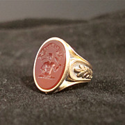 Intaglio Ring With Carnelian Stone &quot;Si Je Puis&quot;.