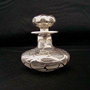 SALE Antique Silver Overlay Perfume Bottle
