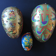 Three Vintage Paper Mache Easter Eggs