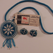 Vintage Native American Beaded Necklace And Earrings