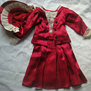 Amazing old red and lace outfit for large doll