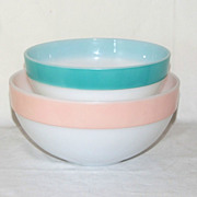 Fire King Set of 2 Pastel Colors Colonial Band Nesting Bowls