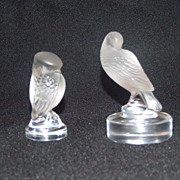 Lalique France Crystal Owl and Dove