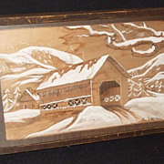 Vintage Arts & Crafts Picture Frame 3D Covered Bridge signed F. Clausier