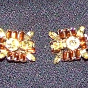 Signed Sherman Amber and Topaz Clip on Earrings