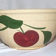 1950s Old Watt Pottery Apple with 2 Leaves #8 Mixing Bowl
