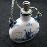 SOLD Vintage Delft Blue Ceramic Perfume Bottle