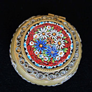 Antique Micro Mosaic and Brass Pill Box