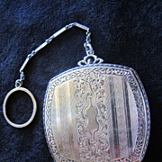Art Deco Sterling Dance Purse with Finger Ring - 1920's