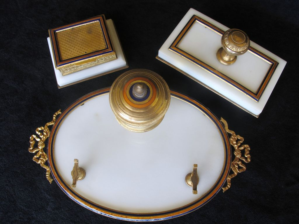 Early 20th C. 3 pc. marble, bronze & enamel inkwell set - France