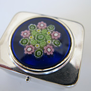 Vintage Sterling Pill Box with Millefiore Center on Lid