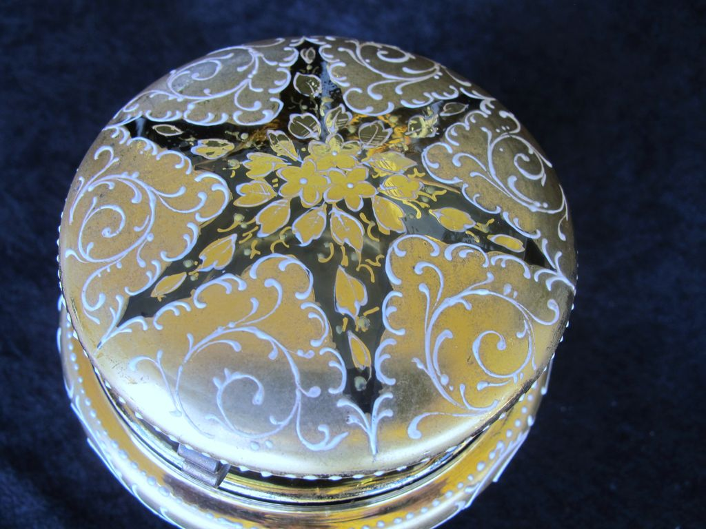 Moser Bohemian Antique Amber Glass Enameled  Dresser Box - 1890