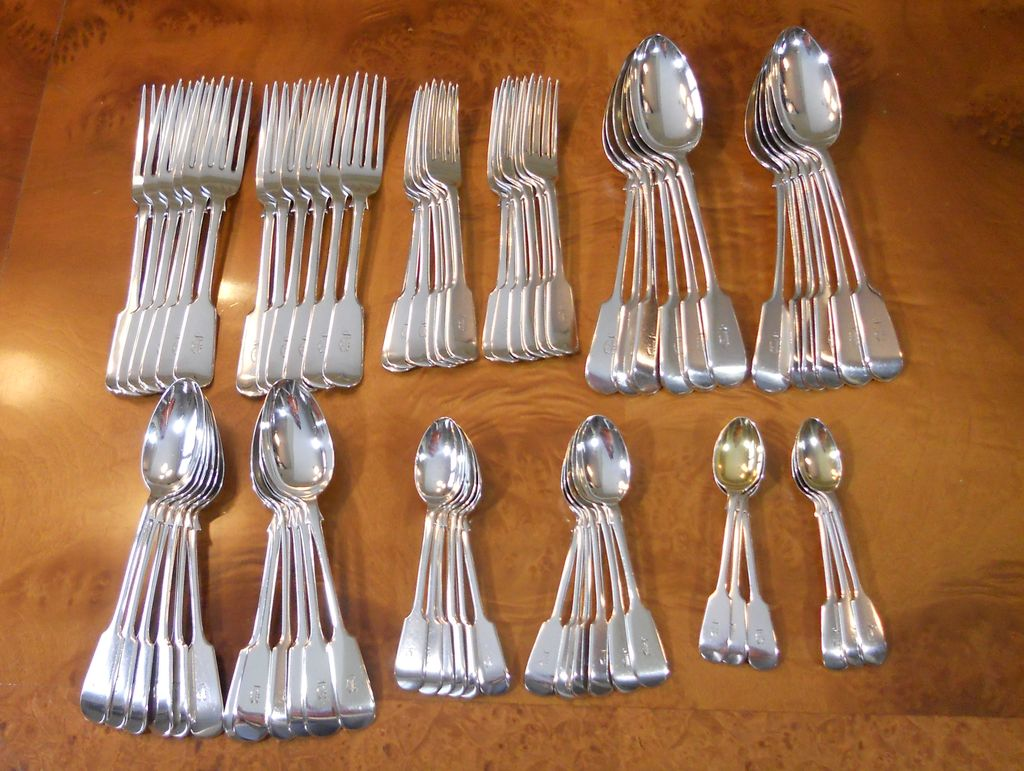 Antique 1911 ELKINGTON & CO.  Sterling Silver 66 pc. Flatware FIDDLE Pattern