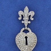 House of SCHRAGER Jewelry Art Deco Fleur-de-lis Sterling & Rhinestone Broach