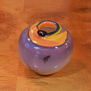 Vintage Original Signed KARI RUSSELL POOL Blown Glass Art Vase Moon Glow Metallic