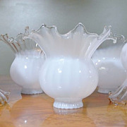 Vintage Hand Blown Milk White to Clear Large Tulip Gas Electric Fixture Lamp Shade