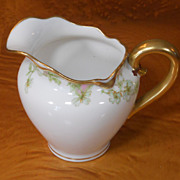 Antique Haviland Limoges Schleiger 33 & 19 Gold Pink Green Creamer