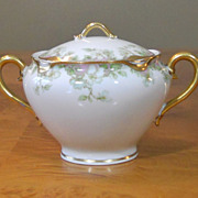 Antique Haviland Limoges Schleiger 33 & 19 Gold Pink Green Covered Sugar Bowl