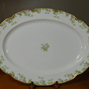 Antique Haviland Limoges Schleiger 33 & 19 Gold Pink Green Floral 16&quot; Platter
