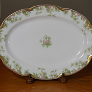 "Antique Haviland Limoges Schleiger 33 & 19 Gold Pink Green Floral 11"" Platter"
