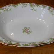 Antique Haviland Limoges Schleiger 33 & 19 Gold Pink Green Floral 10&quot; Vegetable Bowl