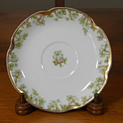 Antique Haviland Limoges Schleiger 33 & 19 Gold Pink Green Floral Saucer