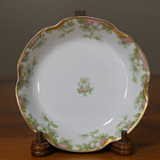 Antique Haviland Limoges Schleiger 33 & 19 Gold Pink Green Floral Fruit Dessert Bowl