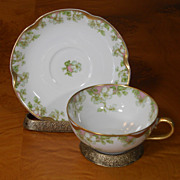 Antique Haviland Limoges Schleiger 33 & 19 Gold Pink Green Floral Cup & Saucer