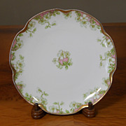 Antique Haviland Limoges Schleiger 33 & 19 Gold Pink Green Floral Salad Dessert Plate