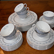 Vintage ROYAL DOULTON China Blue & Silver LYRIC 5 Pc Settings For 8 ~ 40 Pcs. H4948