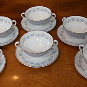 Vintage ROYAL DOULTON China Blue & Silver LYRIC 6 Cream Soup Bowls & Saucers H4948