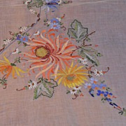 Vintage Chinese Handmade Shear Embroidered & Appliqu Tablecloth 102&quot; w/10 Napkins