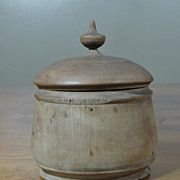 Antique Peaseware Treenware Covered Spice Jar Container 6""